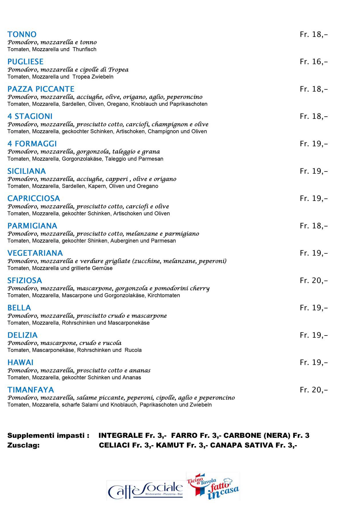 Ristorante Sociale Riva san Vitale menu pizze pag 2